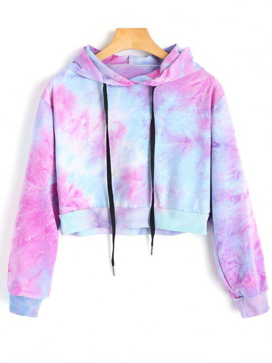 women Cropped Tie Dye Hoodie - COLORMIX S