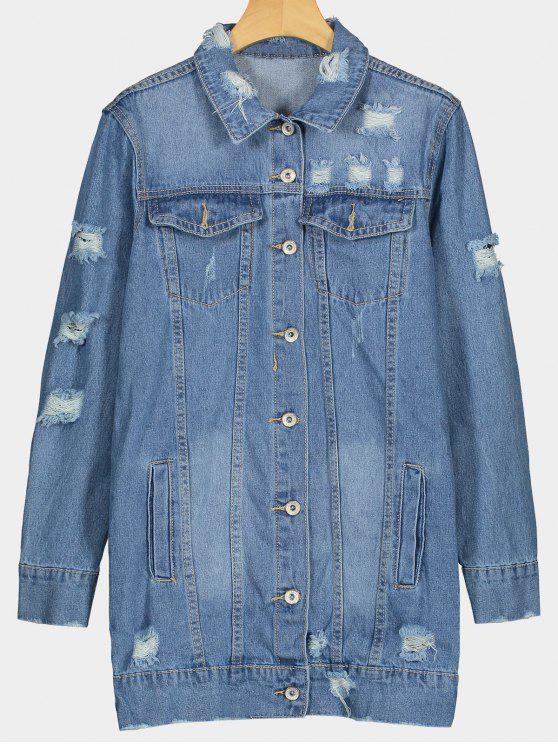Button Up Pockets Ripped Denim Coat - Azul M