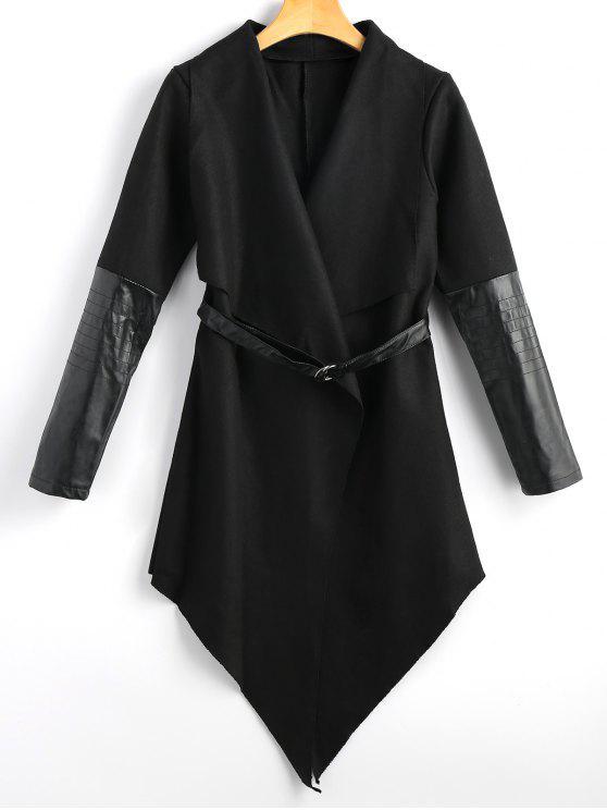 معطف بحزام من القماش والجلد - أسود M