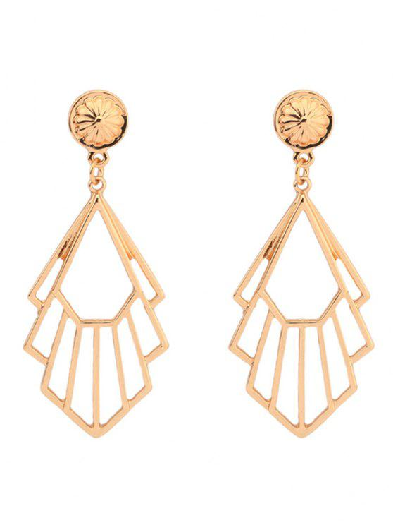 chic Alloy Geometric Engraved Flower Earrings - GOLDEN