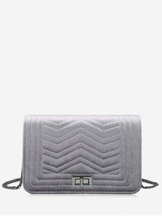 buy Stitching Quilted Zigzag Crossbody Bag - GRAY