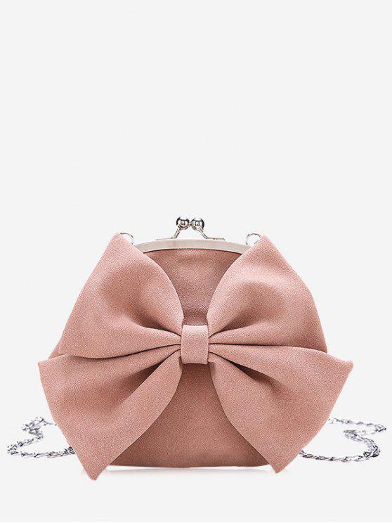 womens Chain Bowknot Crossbody Bag - PINK