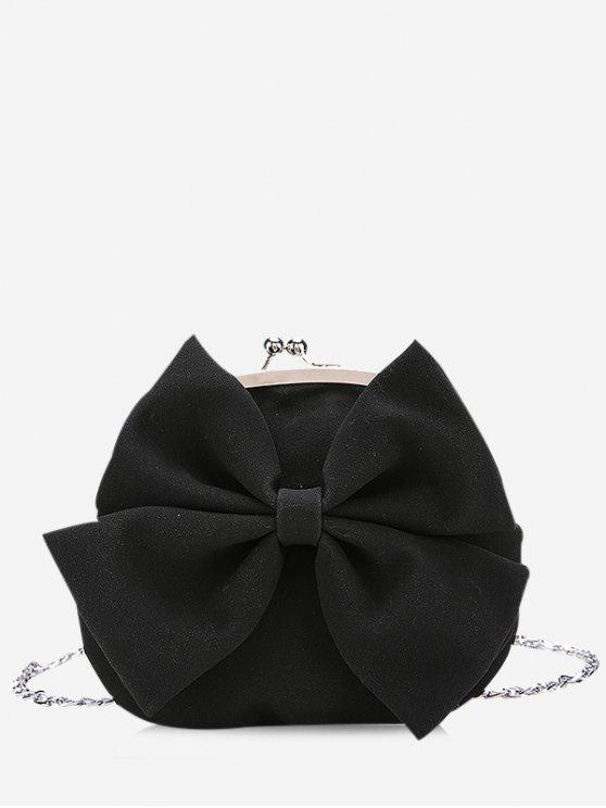 women Chain Bowknot Crossbody Bag - BLACK