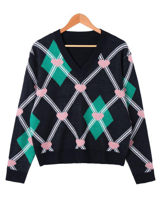 outfits Heart and Rhombus Pattern V Neck Sweater - BLACK L