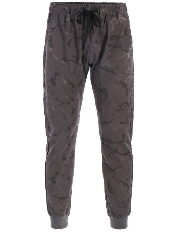 Pantaloni di Jogger di stampa del cranio di Halloween Camo - Grigio Scuro 3XL