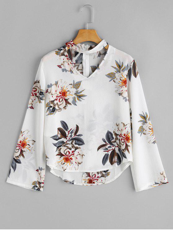 Top Choker Floral à Manches Longues - Blanc M