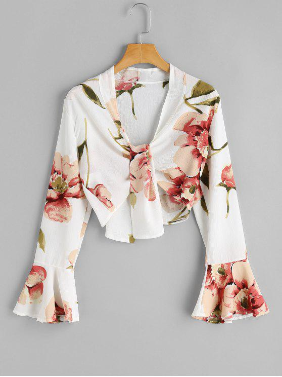 dfb297606446 26% OFF] 2019 Long Sleeve Floral Crop Top In WHITE | ZAFUL