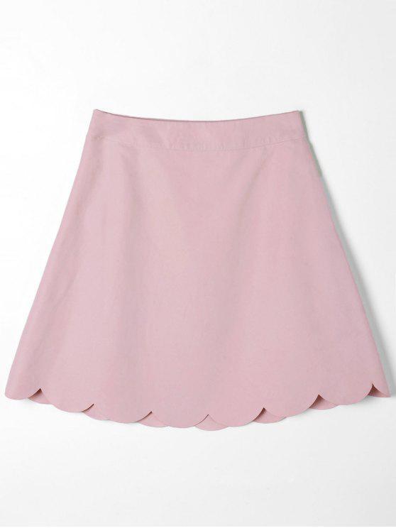 Mini falda con borde festoneado - Rosa S