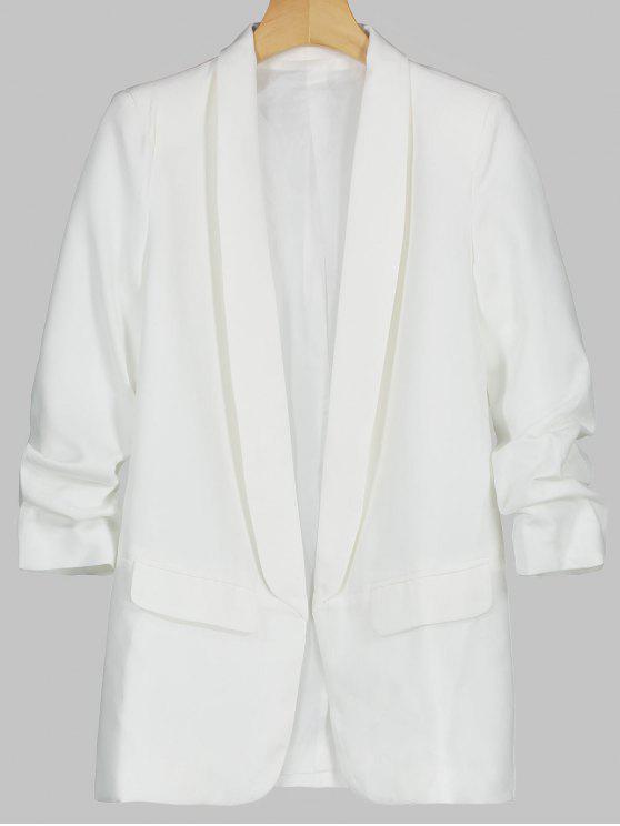 Blazer à Col Châle avec Poches Décoratives - Blanc S