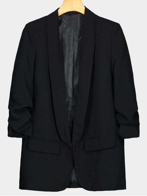Falso bolsillo embellecido chaqueta de solapa - Negro S