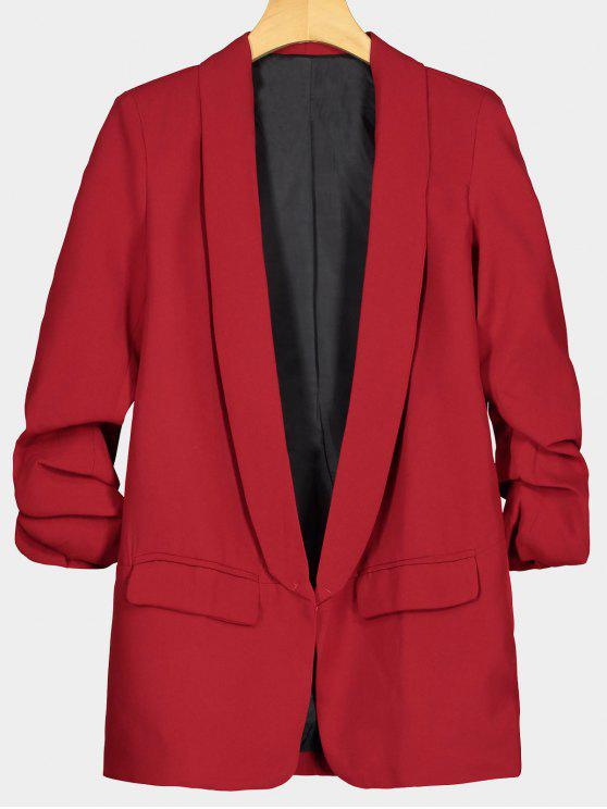 women Faux Pocket Embellished Lapel Blazer - RED L