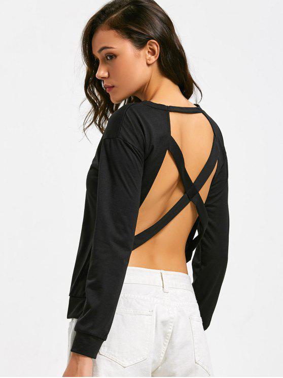 بلوزة بأكمام طويلة مكشوفة الظهر ذات أربطة متقاطعة - أسود XL