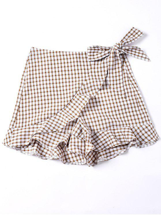 fashion Self Tie Gingham Ruffle Shorts - COLORMIX M