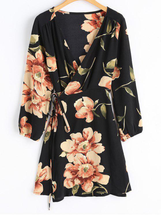 unique Floral Print Long Sleeve Wrap Dress - BLACK XL