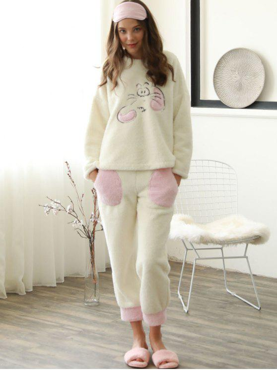 fancy Embroidered Flannel Pajamas Set - OFF-WHITE M