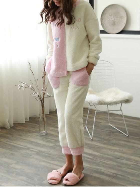 lady Two Tone Embroidered Flannel Pajamas - PINK AND WHITE M