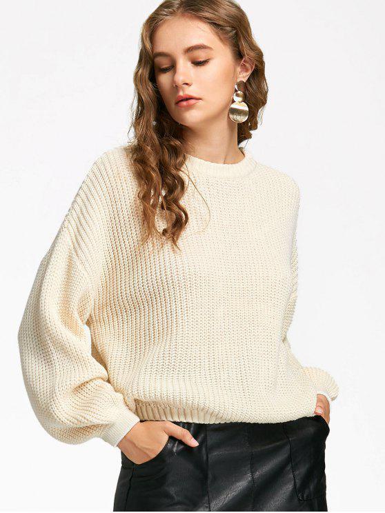 latest Oversized Lantern Sleeve Sweater - OFF-WHITE ONE SIZE