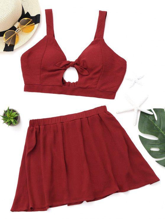 trendy Bow Tied Cut Out Bralette Top and Mini Skirt - RED L