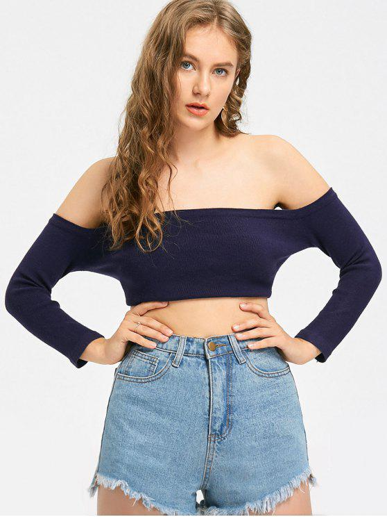 women's Off The Shoulder Crop Knitted Top - PURPLISH BLUE M