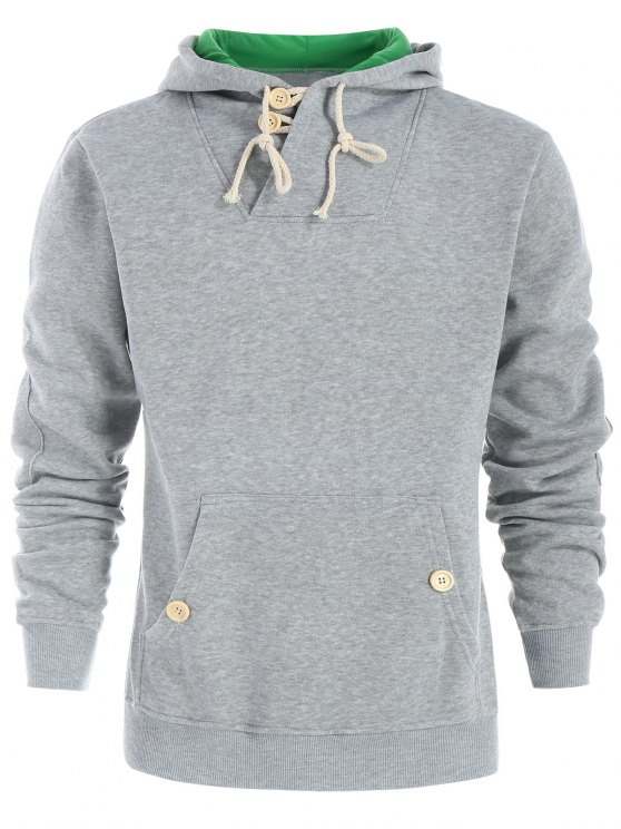 shop Drawstring Casual Half Button Hoodie - LIGHT GRAY L
