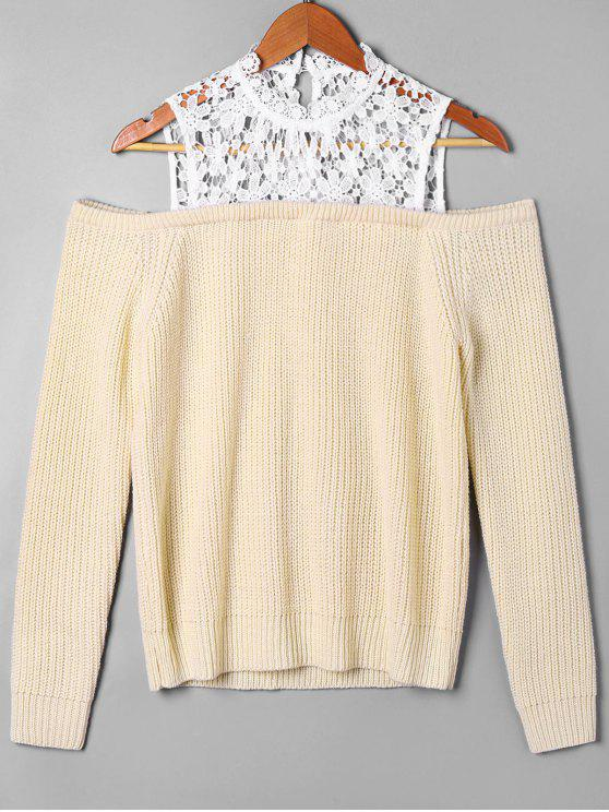 unique Lace Panel Cold Shoulder Sweater - APRICOT XL