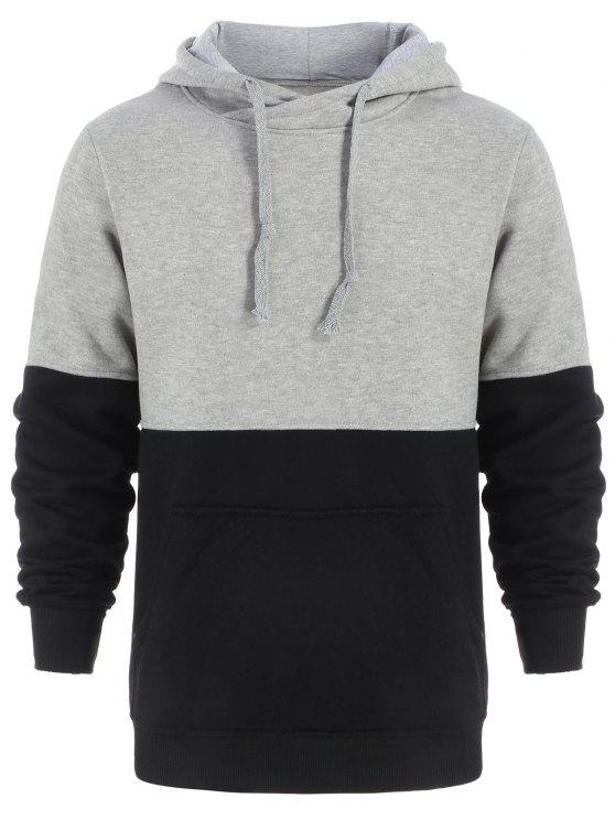 Drawstring Color Block Pullover Hoodie BLACK AND GREY: Hoodies ...
