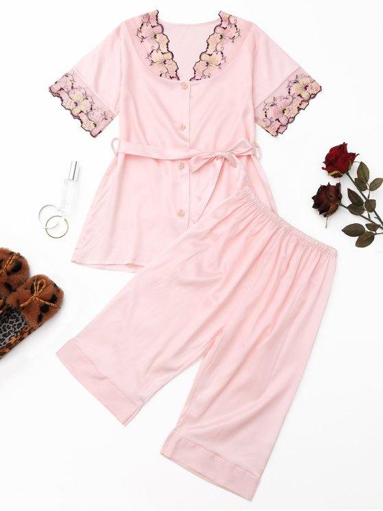 Conjunto de pijama de satén bordado con malla - Rosado M