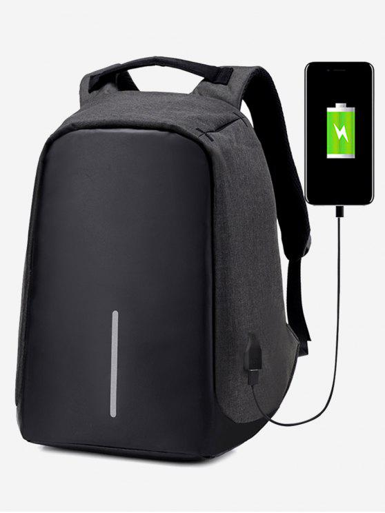 sale Straight Line USB Charging Port Backpack - BLACK