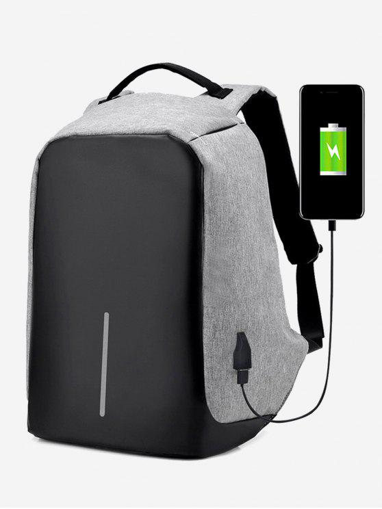 affordable Straight Line USB Charging Port Backpack - GRAY