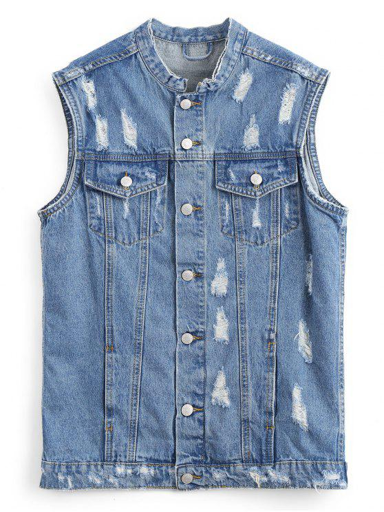 affordable Button Up Distressed Denim Waistcoat - DENIM BLUE S