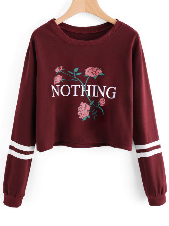 Sweat-shirt à Lettre et Rose - Rouge vineux  L