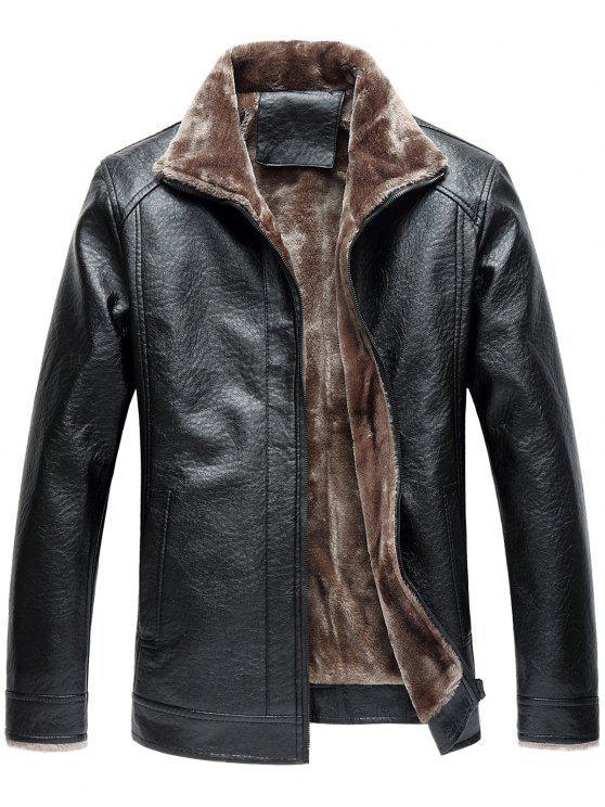 Veste Zippée en Faux Cuir et en Molleton à Col Tailleur - Noir 4XL