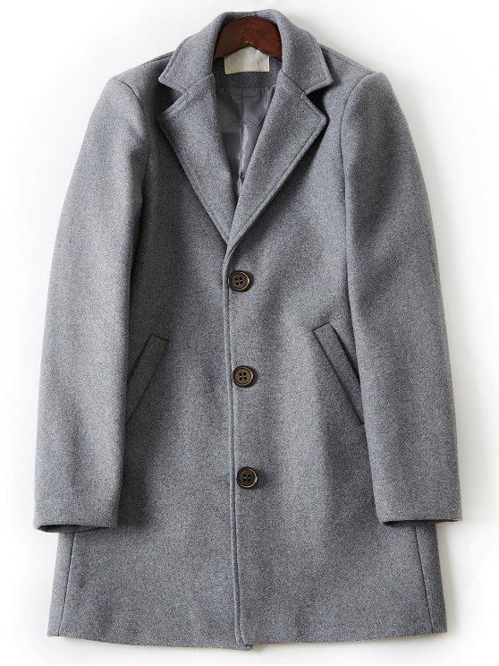 Collar de lana de lana de un solo pecho - Gris Claro 3XL