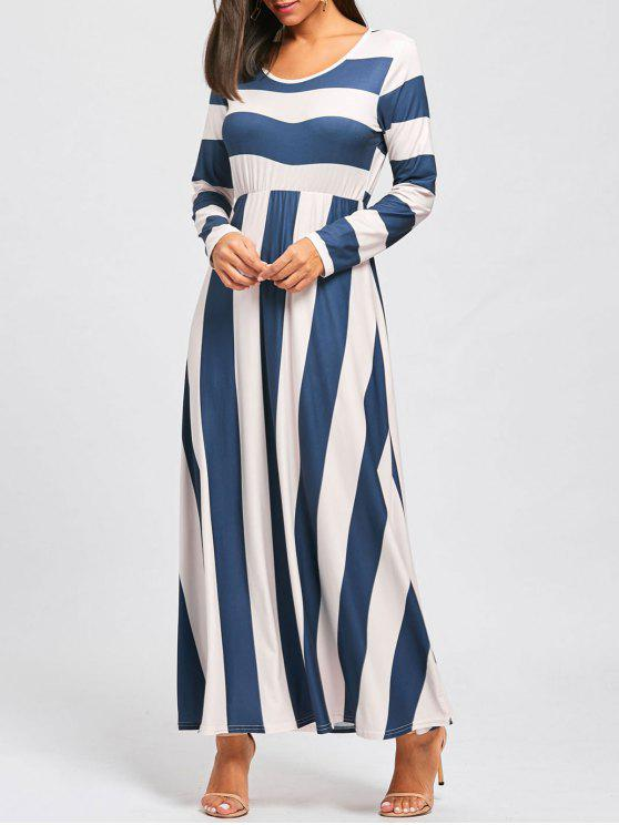 trendy Striped Floor Length Long Sleeve Dress - BLUE AND APRICOT L