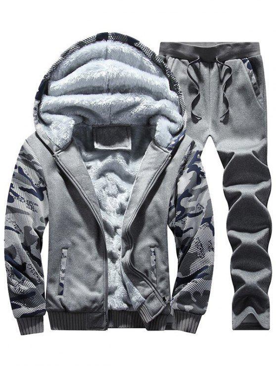 Flocking Camo Hoodie und Sweatpants Trainingsanzug - Dunkelgrau XL