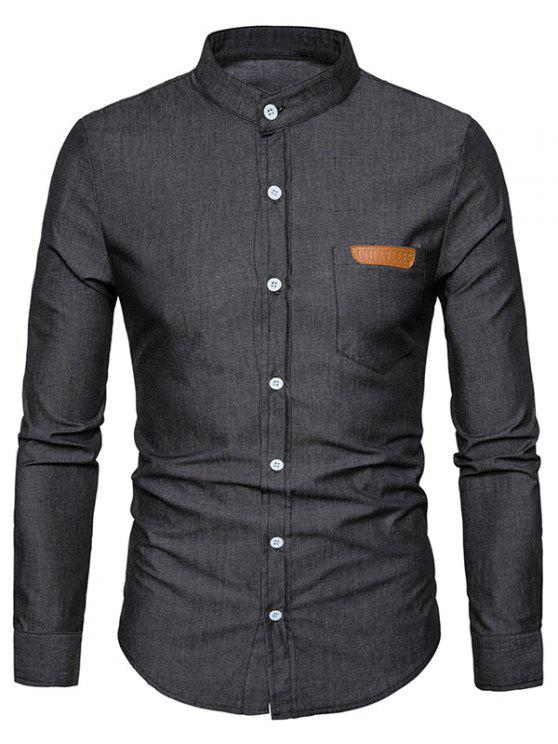 online Stand Collar PU Leather Edging Chambray Shirt - BLACK M