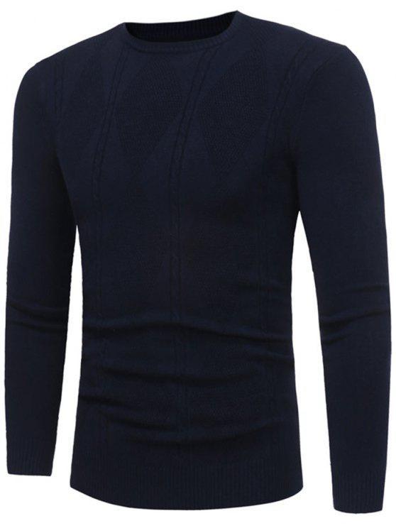 latest Rhombus Pattern Crew Neck Sweater - PURPLISH BLUE L