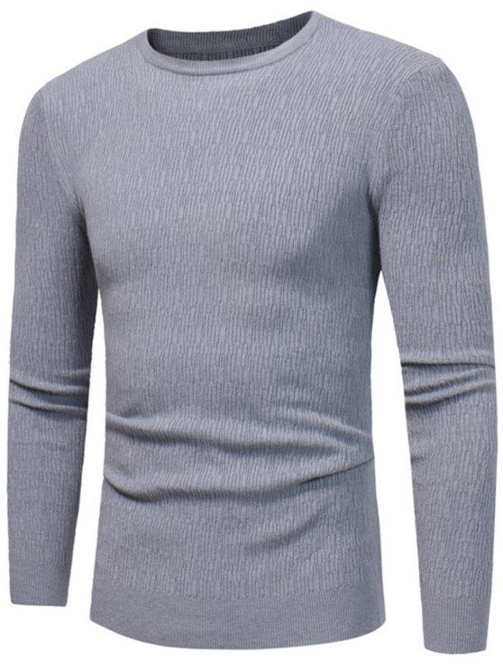 fashion Crew Neck High Stretchy Sweater - GRAY XL