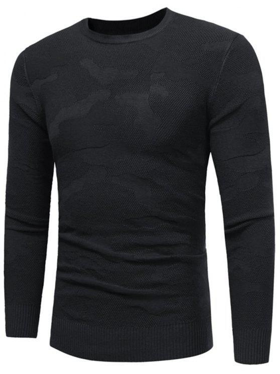 Camisola de padrão irregular com pescoço com gola - Preto M