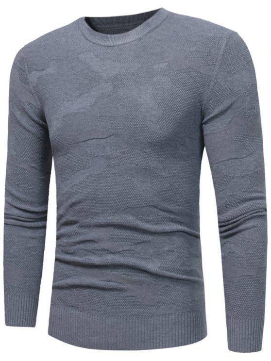 Besatzung Hals Unregelmäßiger Muster Pullover - Grau M