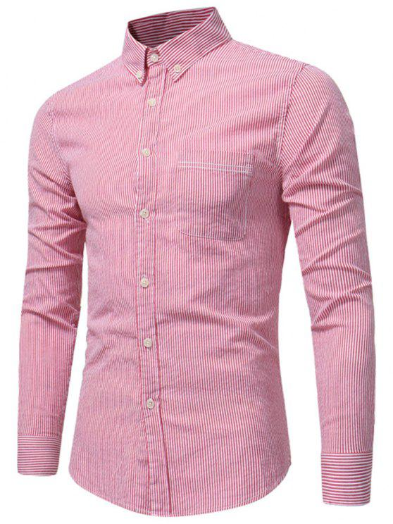 best Button Down Chest Pocket Stripe Shirt - WATERMELON RED 2XL