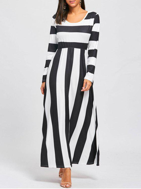 unique Striped Floor Length Long Sleeve Dress - BLACK AND WHITE M
