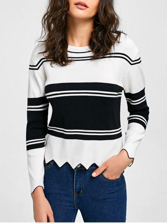 a0e184baddf 41% OFF  2019 High Low Drop Shoulder Trim Sweater In WHITE AND BLACK ...