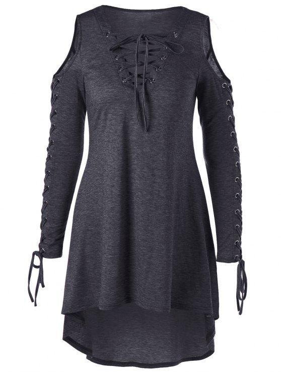فستان الحجم الكبير باردة الكتف - الظلام هيذر رمادي 2XL