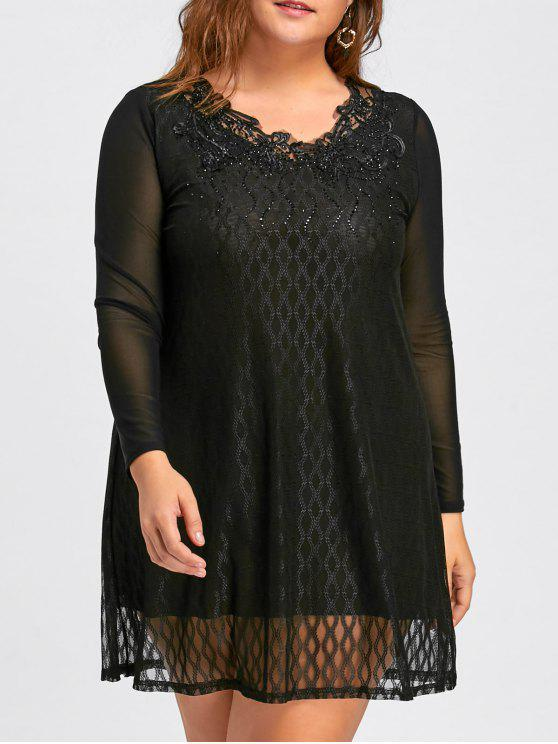 2018 Plus Size Mesh Layered Long Sleeve Sparkly Dress In Black 5xl
