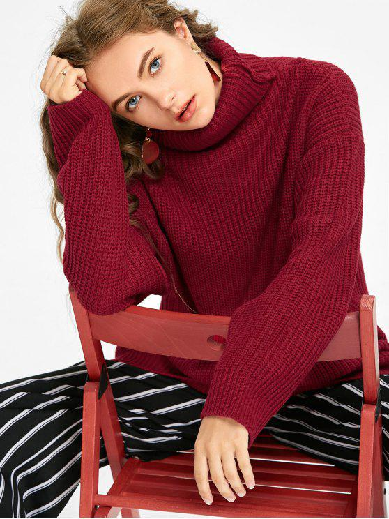 chic Oversized Turtleneck Chunky Sweater - DEEP RED ONE SIZE