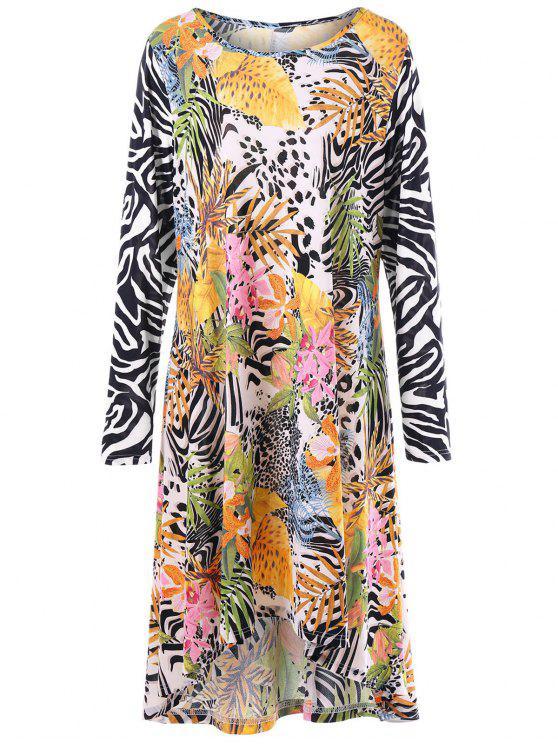 فستان بأكمام طويلة ذو مقاس كبير - مزيج ملون 2XL