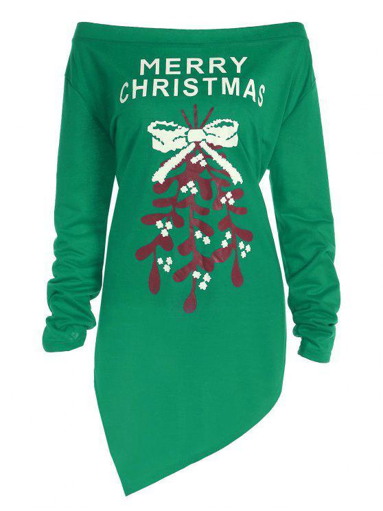 Plus-Größe aus der Schulter Asymmetrische Weihnachten T-Shirt - Grün 3XL