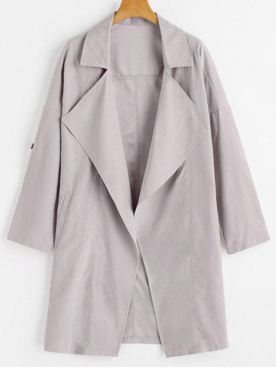 معطف الخندق انخفاض الكتف - شاحب اللون رمادي L