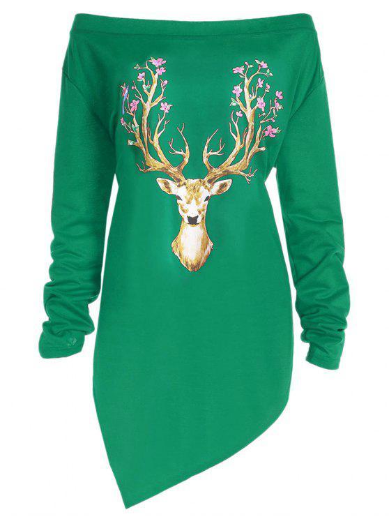 db7dbfc3fce 2019 Plus Size Christmas Elk Print Asymmetrical Tee In GREEN 5XL